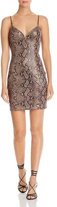 ASTR the Label Come Slither Snake Print Dress