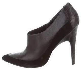 Sigerson Morrison Python-Trimmed Pointed-Toe Booties
