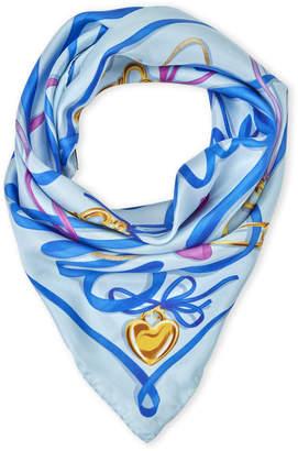 Moschino Sky Blue Printed Silk Scarf