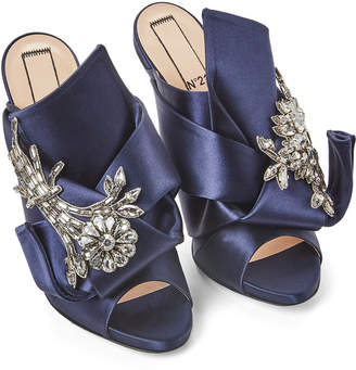 No.21 No. 21 Navy Blue Raso Embellished Satin Mules