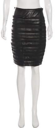 Oscar de la Renta Leather Striped Skirt