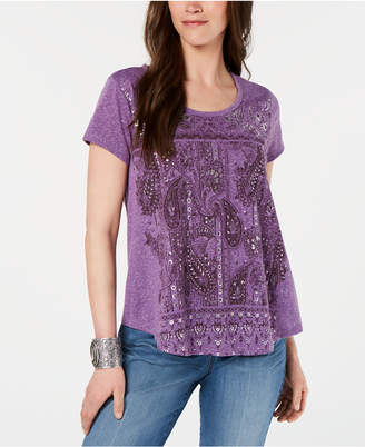 Style&Co. Style & Co Graphic-Print Swing T-Shirt, Created for Macy's
