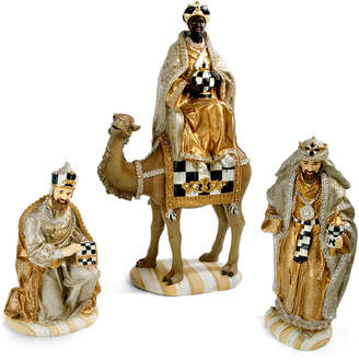 Mackenzie Childs Silver Lining Three Kings Nativity Figurines Set