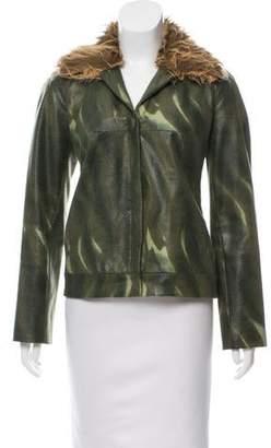 Vivienne Tam Faux Fur-Accented Embossed Jacket