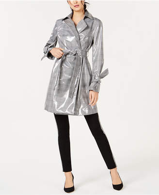 INC International Concepts I.n.c. Patent Plaid Trench Coat