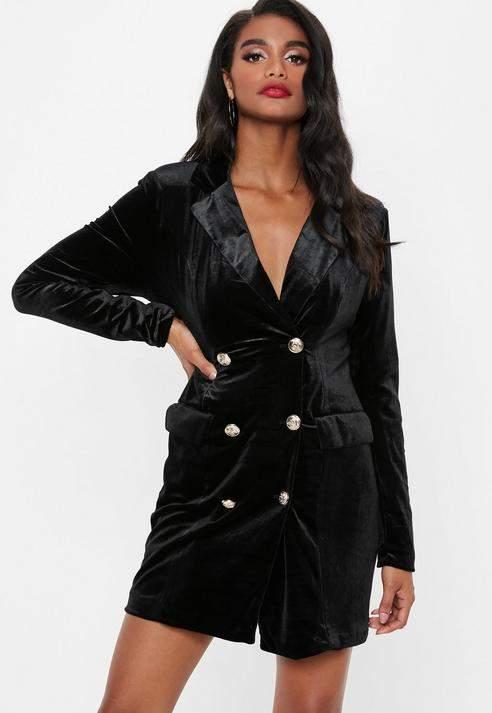 Petite Black Velvet Blazer Dress, Black