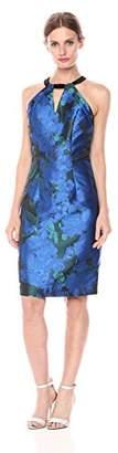 Carmen Marc Valvo Women's Floral Jacquard Halter Dress