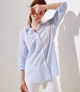LOFT Mixed Stripe Button Down Tunic Shirt