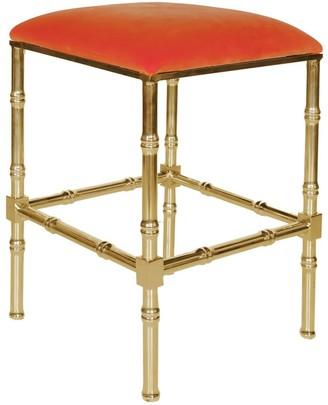Worlds Away Sadler Brass Bamboo Counter Stool with Orange Velvet Cushion - OUT OF STOCK