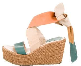 Chloé Leather Platform Espadrille Wedges