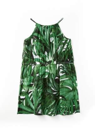 Milly Tropical Leaf Strappy Dress