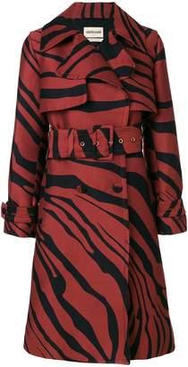 Roberto Cavalli zebra jacquard trench coat