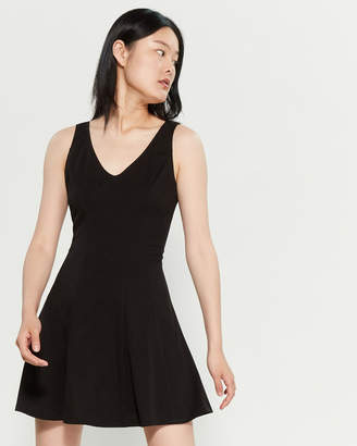 Necessary Objects Black Double V Fit & Flare Dress