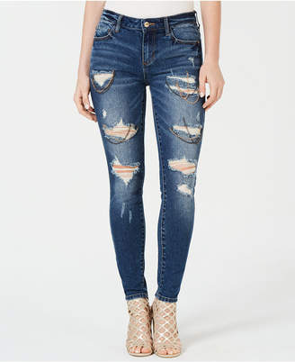 GUESS Sexy Curve Ripped Chain-Trim Jeans
