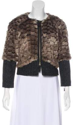 Juicy Couture Wool-Trimmed Faux Fur Jacket
