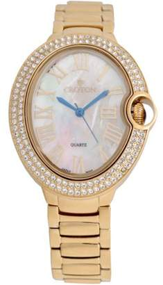Croton Ladies Goldtone Quartz Watch with Crystal Bezel & Mother of Pearl Dial