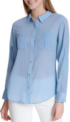 Calvin Klein Collection Roll-Sleeve Cotton Button-Down Shirt