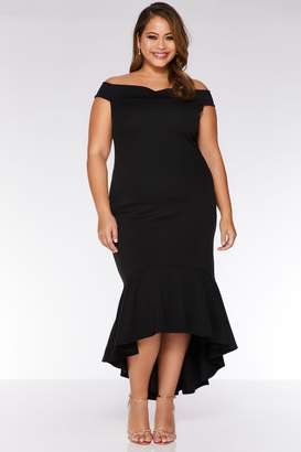 f639d03dc1bb Quiz Curve Black Bardot Dip Hem Midi Dress
