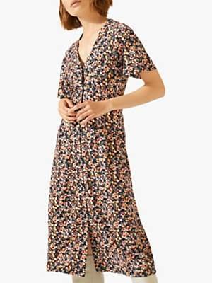 Jigsaw Mini Sunbleached Floral Dress, Black