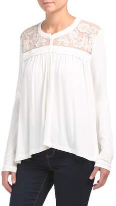 Long Sleeve Lace Yoke Knit Top