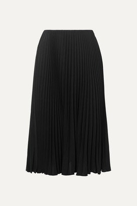 Valentino Pleated Silk Midi Skirt - Black