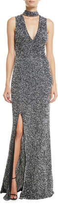 Alice + Olivia Arial Embellished Sleeveless V-Neck Gown