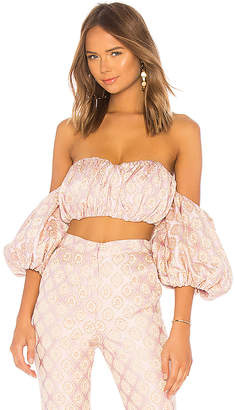 LPA Shirred Bustier With Puff Sleeves