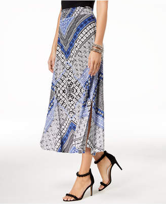 INC International Concepts I.N.C. Printed Shirred-Waist Skirt, Created for Macy's