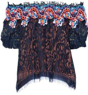 Peter Pilotto Off-the-shoulder Crochet-paneled Corded Lace Blouse