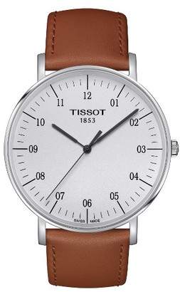 Tissot Everytime Leather Strap Watch, 42Mm $200 thestylecure.com