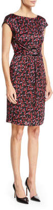 Emporio Armani Cap-Sleeve Belted-Front Check-Print Silk Dress