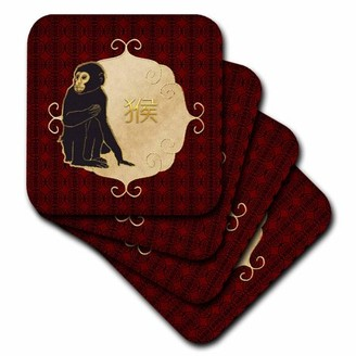 3dRose Chinese New Year, Chimpanzee Monkey, Chinese Sign, Red, Gold , Ceramic Tile Coasters, set of 4