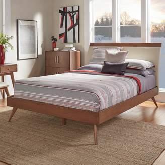 Skagen Homevance HomeVance Mixed-Media Walnut Finish Upholstered Platform Bed