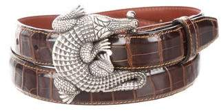 Kieselstein-Cord Sterling Alligator Buckle Belt