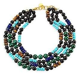 Nest Malachite, Turquoise, Lapis& Horn Collar Necklace