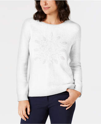 Karen Scott Embroidered Snowflake Sweater