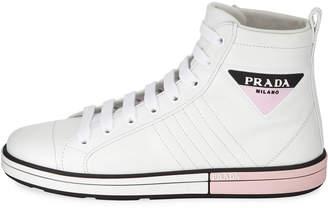 Prada High-Top Leather Sneakers