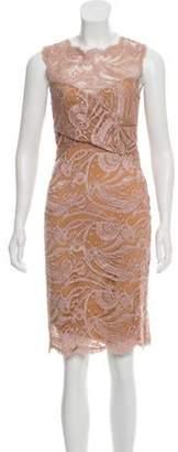 Emilio Pucci Lace Knee-Length Dress Tan Lace Knee-Length Dress