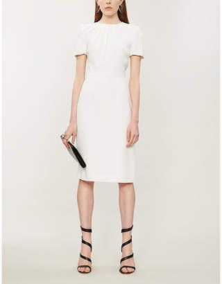 Alexander McQueen Gathered padded-shoulder crepe dress
