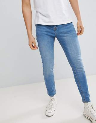 Pull&Bear Carrot Fit Jeans In Blue Wash