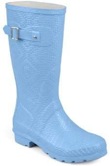 Brinley Co. Womens Mid-calf Textured Basketweave Rubber Rainboots