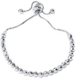 FINE JEWELRY Sterling Silver Diamond-Cut Bead Adjustable Bracelet