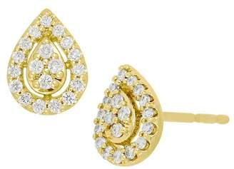 Bony Levy 18K Yellow Gold Pave Diamond Pear Stud Earrings - 0.18 ctw
