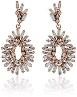 Suzanne Kalan Fireworks 18K rose gold and diamond mini pear drop earrings