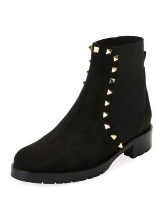 Valentino Suede Studded Combat Ankle Boots, Black