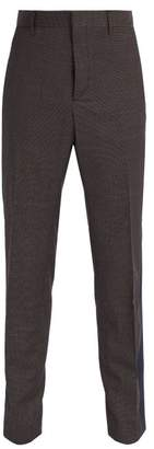 Prada Micro Checked Slim Leg Wool Trousers - Mens - Dark Grey