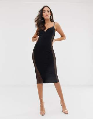 PrettyLittleThing strappy bodycon midi dress with mesh lace panels in black