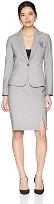 Tahari by Arthur S. Levine Women's Petite 1 Button Notch Collar Chain Pin Detail Skirt Suit