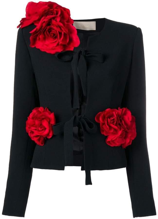 rose appliqué jacket
