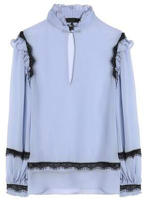 Nicholas Ruffle And Lace-Trimmed Silk-Crepe De Chine Blouse